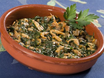 Shrimp with Chard