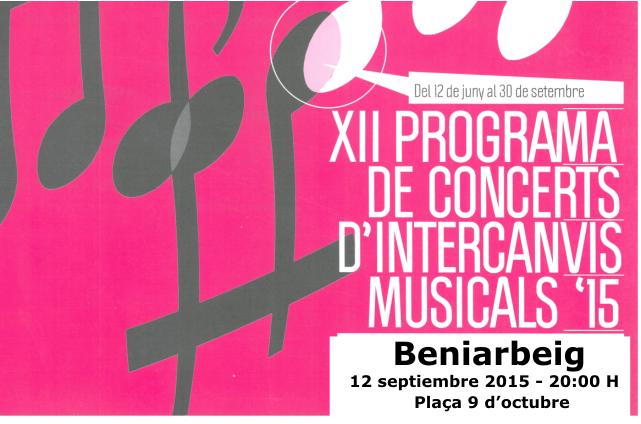 Unió Musical Beniarbeig – Concert dissabte 12 de setembre a les 20:00