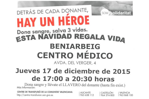 DONACIÓ DE SANG – Dijous 17 de desembre de 17:00 a 20:30 en el Centre Mèdic