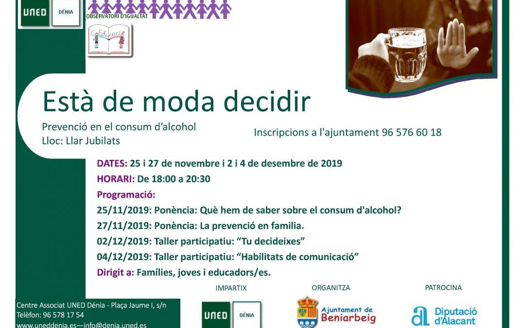La UNED impartirá en Beniarbeig las charlas para la prevención del consumo de alcohol entre los jóvenes