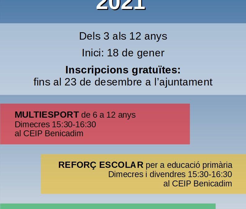 L'Ajuntament oferta tres tipus d'activitats extraescolars